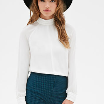 FOREVER 21 Mock Neck Cutout Blouse
