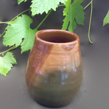 Ceramic/Pottery concrete flower pot - Brown decorative vase for plants-Small handmade jar-molded on potter's wheel.Rustic vase, hand painted