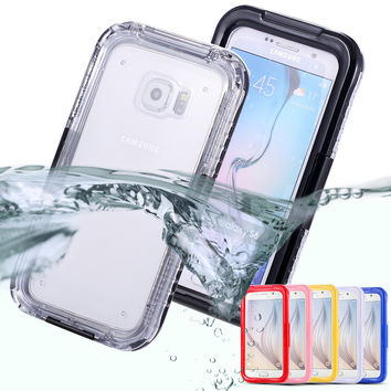S6 /S6 Edge New Waterproof Transparent Case for Samsung Galaxy S6 /S6 Edge Clear Diving Soft Back Strap Hard General Phone Cover