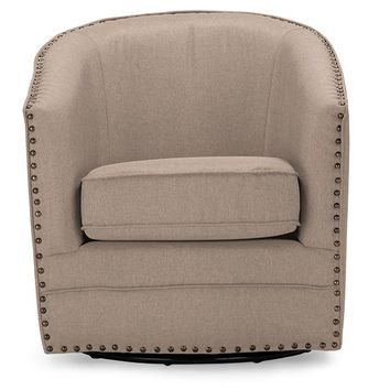 Baxton Studio Porter Modern and Contemporary Classic Retro Beige Fabric Upholstered Swivel Tub Chair Set of 1