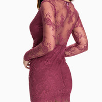 Floral Lace Long Sleeve Deep V-Neck Backless Mini Dress