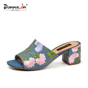 Donna-in Women Summer Sandals 2018 Fashion Denim Ladies Shoes handmade beach Slippers Genuine Leather Lining Thick Mid Heels
