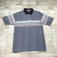 Vintage 90s Tropical Palm Striped Polo Shirt Blue/Maroon/White Mens Size Medium
