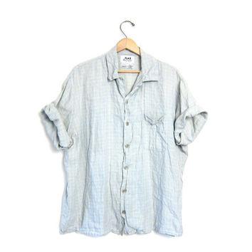 vintage FLAX shirt. oversized button down shirt. slouchy Light blue stripes mens linen tshirt. modern minimalist. button up tshirt. L XL