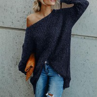Knitted Off The Shoulder Sweater