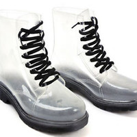 WOMENS LADIES FLAT CLEAR FESTIVAL JELLY WELLIES LOW ANKLE RAIN BOOTS SHOES SIZE#