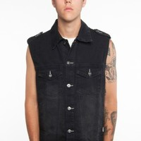 Glamour Kills Clothing - Guys Cruise On Denim Vest Black