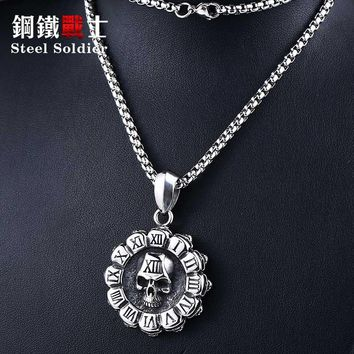 Steel soldier stainless steel skull pendant necklace vintage man punk rock jewelry