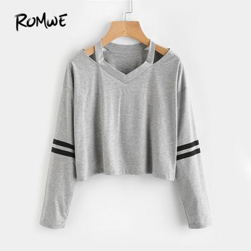 Cut Out Neck Striped Sleeve Tee Shirt Ladies Grey V Neck Sleeve Pullovers Women Casual T Shirt
