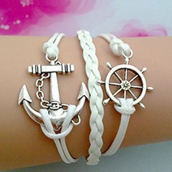 Anchors Away Handmade Leather Friendship Bracelet