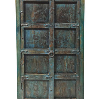Blue Patina Antique Furniture Old Door Storage Cabinet Armoire