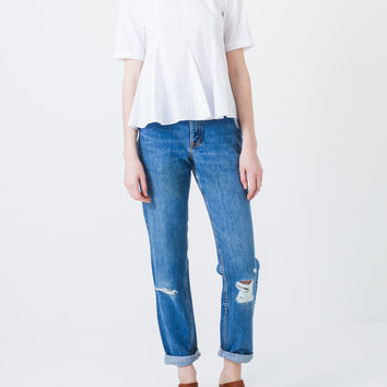 White Poplin Penn Top