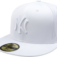 MLB New York Yankees White on White 59FIFTY Fitted Cap, 7 1/4