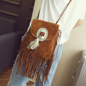 Feathers Hippie American Indian Tribal Bohemian Boho Chic Ibiza Style Pouch