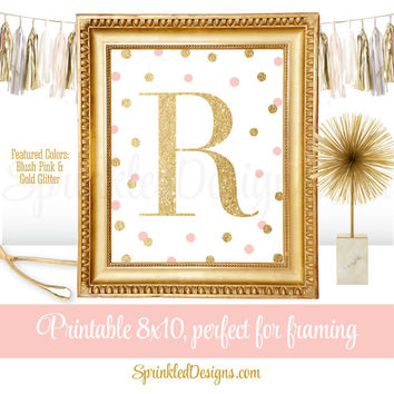 Printable Baby Girl Nursery Decor Wall Art - Letter R - Name Initial Monogram Sign, Kids Art Print, Blush Pink Gold Glitter 8x10 JPG