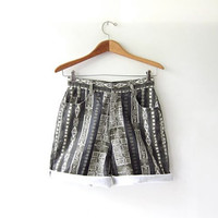 Vintage jean shorts. abstract print shorts. roll up shorts.