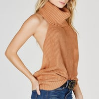 All New Turtleneck Open Back Top