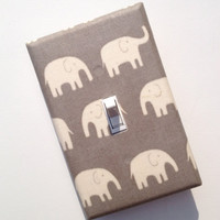 Gray Elephant Light Switch Plate Cover / Baby Boy, Girl, Gender Neutral Nursery Decor / Kids Room / Japanese Kawaii Fabric