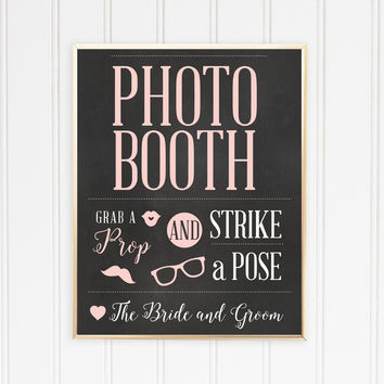 Wedding Chalkboard Photo Booth Sign, Grab a Prop and Strike a Pose Poster