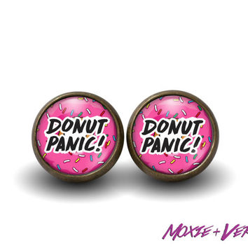 Donut Panic Earrings, 90s Grunge, 90s Jewelry, Soft Grunge, Stud Earrings, Glass Earrings, Donuts, Junk Food