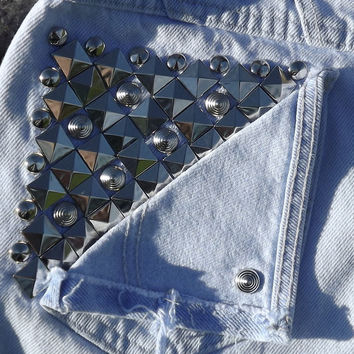 Pyramid and Cone Studded Back Pocket Shorts Frayed by twazzy