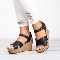 Distressed Leather Wedges Sandals - Black