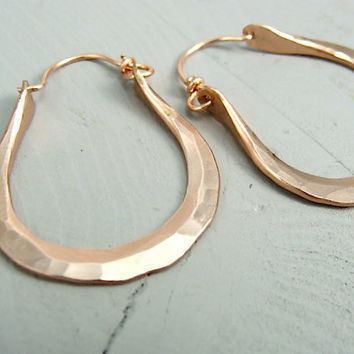 serendipity ...  14k rose gold filled hoops .. medium