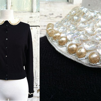 1950s Cardigan Sweater • Tobi of California • 50s Black Cardigan Sweater with Faux Pearl Sequined Collar