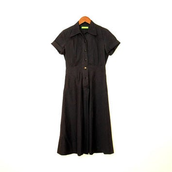 Dark Blue Vintage Cacharel Shirt Dress Short Sleeve Safari Dress Full Skirt Gabardine Cargo Dress With Pockets