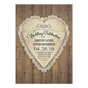 rustic country wood lace and burlap wedding invite