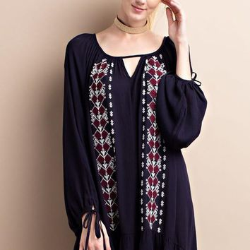 Bohemian Patterned Dress W/ Keyhole