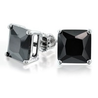Bling Jewelry Princess Cut Black CZ 925 Silver Screw Back Stud Earrings