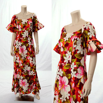 Vintage 60s Hawaiian Floral Maxi Dress 1960s Hibiscus Flower Polynesian Ruffles Barkcloth Dress Tiki Wedding Boho Hippie size Medium