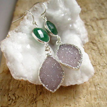 Amethyst Druzy Earrings Drusy Quartz Sterling Silver Bezel Set Emerald