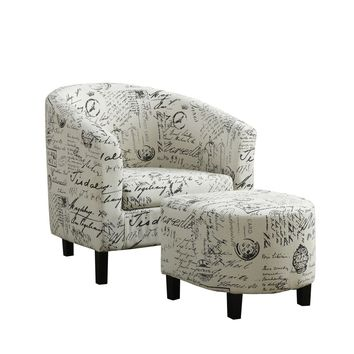 Vintage French Fabric Accent Chair And Ottoman