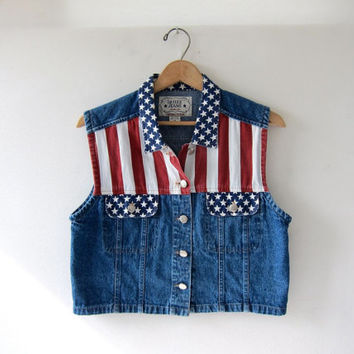 90s FLAG jean vest. Cropped denim vest. Striped sleeveless jacket