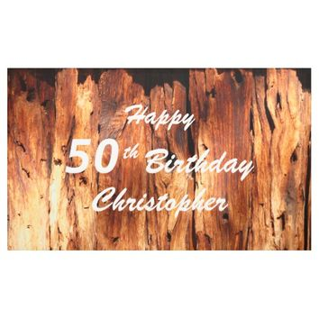 Personalize 50th Birthday Sign Faux Weathered Wood