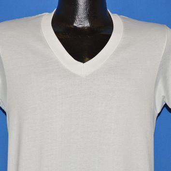 70s Sears Blank White V-Neck Ribbed t-shirt Medium