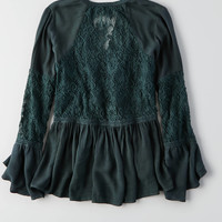 AEO Lace + Bar Swing Top, Teal