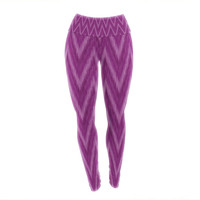 "Amanda Lane ""Plum Purple Chevron"" Lavender Fuschia Yoga Leggings"