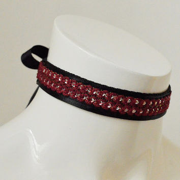 Kitten play collar - Glamorous red cat - ddlg princess elegant night choker - gothic lolita pet - black burgundy dark red and silver