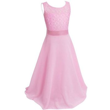 Kids Girls Flower Lace Dress for Party and Wedding Bridesmaid Floral Girl Dress Ball Gown Prom Formal Maxi vestidos
