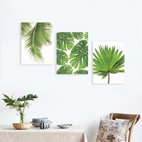 Palm Leaf Canvas Poster Prints Tropical Plant on Canvas Wall Paintings Modern Home Decor,Wall Art Print Poster(No Frame)