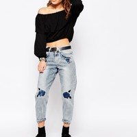 Glamorous Petite Relaxed Boyfriend Jean With Floral Embroidery