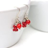 Red brown coral earring, delicate & elegant, gemstone jewelry, dangle earings