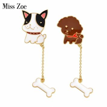 Trendy Miss Zoe Cartoon Poodle French Bulldog Puppy Dog Bone Chian Brooch Pins Chain Button Pin Denim Jacket Badge Gift Animal Jewelry AT_94_13