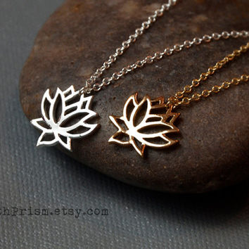 Lotus Flower Charm Pendant / Gold or Silver Chain Necklace / Dainty Delicate necklace / Simple Necklace / Flower Necklace