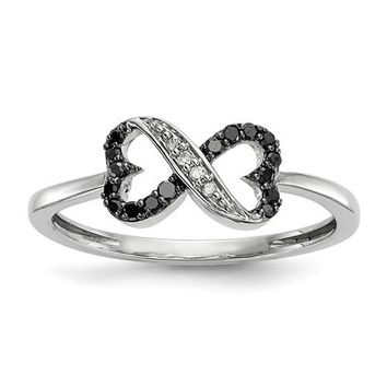Sterling Silver Black & White Diamond Double Heart Infinity Ring
