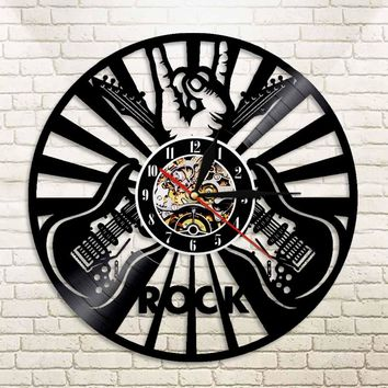1piece Guitar Rock Vinyl Record Wall Clock Roll N Music Wal