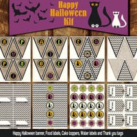 DIY Printable Halloween Burlap Party Decoration Kit with Cats and Bats - Halloween Garland, Cake Toppers, Food and Water Labels, Name Tags